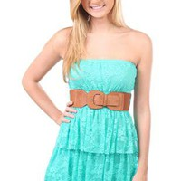 all over floral lace leatherette belted triple tiered dress - debshops.com