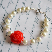 Bridesmaid Bracelet Ivory Pearl Bridesmaids Bracelet Red Rose Jewelry Flower Bracelet - Handmade Pearl Bracelet