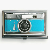 Business Card Case Vintage Style  Blue Camera Metal Case Fits Business, Credit, Debit and Gift Cards  Blue