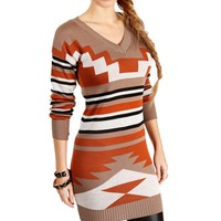 Tan/Rust/Black V Neck Tribal Sweater