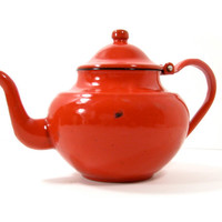 Red Enamel Teapot