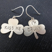 Kiss Me I&#x27;m Drunk Brass Clover Shamrock Earrings with Sterling Silver Earwires