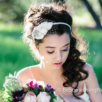 Weddings, Vintage leaves of love, bridal headband, wedding hair