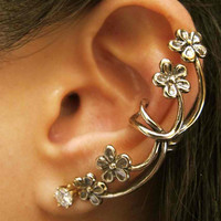 Bronze Forget Me Not Flower Ear Cuff
