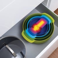 Joseph Joseph 9 Piece Compact Mixing Bowl, Food Prep and Measuring Set, Nest 9