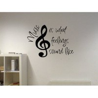 Amazon.com: Music Is What Feelings Sound Like Vinyl Wall Decal: Home &amp; Kitchen