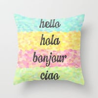 Hello Colors Throw Pillow by MN Art