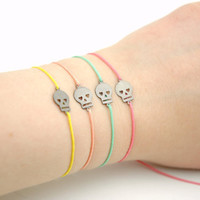 Minimalist Gunmetal Skull Friendship Bracelet - Mint Green - Peach Pink - Sugar Pink  Modern Jewelry , Pastel Colors, Easter Colors