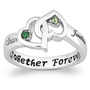 Couple's Entwined Hearts Birthstone Name Ring - FindGift.com