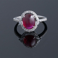 Cabochon Ruby &amp; Diamond Ring ~ M.S. Rau Antiques