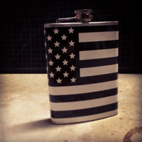 American 'Merica Black Flag USA Stainless Steel Hip Flask America