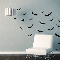 Flying Bats Vinyl Wall Decals  Set of 26 by tweetheartwallart