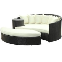 LexMod Taiji Outdoor Wicker Patio Daybed with Ottoman in Espresso with White Cushions: Patio, Lawn & Garden