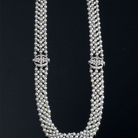 EdwardianNatural Pearl & Diamond Necklace ~ M.S. Rau Antiques