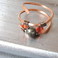 Hammered Copper ring with Pyrite and Red Magma Crystals