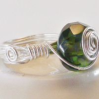 Green Spiral Ring Silver Wire Wrapped Faceted by TheSilverFindings