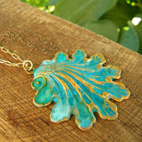 Garden Gate Verdigris solid brass shell pendant by cuppacoffee