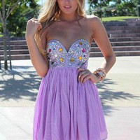 Strapless Dress with Sequin&Jewel Embellished Top