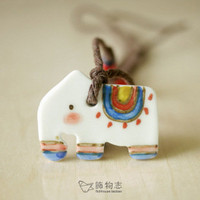 elephant porcelain necklace
