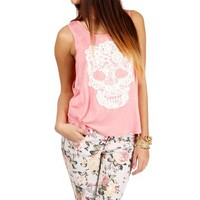 Pre-Order: Pink Lace Skull Tank Top