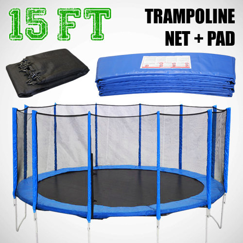 Kidwise Jumpfree 15 Ft Trampoline And Safety Enclosure: NEW 15' Ft Round Trampoline Pad + Net From Gothobby On EBay