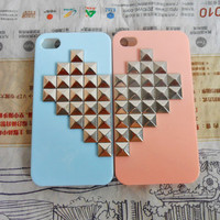 Fashion iPhone 4, 4S hard Case Cover with Heart-shaped silver pyramid stud For iPhone 4 Case, iPhone 4S Case, iPhone Hard Case -142