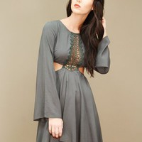 olive green boho bell sleeve dress featuring cutouts at the waist | shopcuffs.com