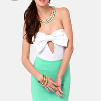 LULUS Exclusive Bow Down Strapless Mint Green Dress