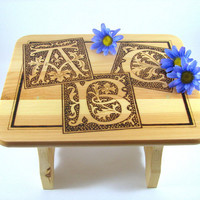 Wood Stool - Wood Pyrography - Decorative Stool
