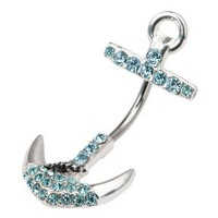Amazon.com: Cz Jeweled Anchor Belly Button Ring: Jewelry