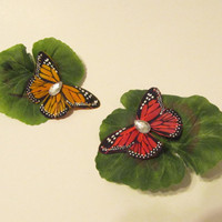 Butterflies upon a Leaf Hair Clip by Starfall on Etsy