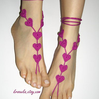 Barefoot Sandals FUCHSJA PINK Heart Valentine&#x27;s Day by kroowka
