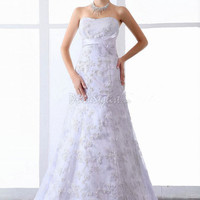 Find affordable A-line Sweetheart Lace Satin Sweep Train White Flowers Wedding Dress