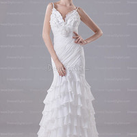 Find affordable Trumpet/Mermaid Straps Chiffon Sweep Train White Tiered Wedding Dress