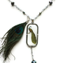 Peacock Necklace Vintage Style. Peacock Feather. Lariat Style Chain. Pearl and Iris Green Accent Beads.