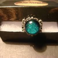 Antique Silver Ox Dichroic Glass Galaxy Ring  - Adjustable (993)