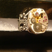 Steampunk  Vintage Elgin Watch Movement Ring with Exposed Gears (994)