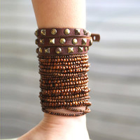 Natural Brown quality Wood round beads bracelet,  4 strings- perfect for layering, stretchy string
