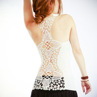 Crochet White racer back tank top, very detailed beautiful crochet