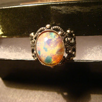 Victorian Style Fire Opal Antique Silver Filigree Ring- Adjustable (1002)