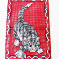 Crossstitch Card   Greeting Card for a Cat by ComfyCosyCrafts