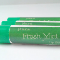 Lip Balm Fresh Mint- All Natural Lip Balm Butter, Lip Balm Mint, Lip Butter, Moisturizing Lip Balm, Chapstick Lip Balm Tube Mint