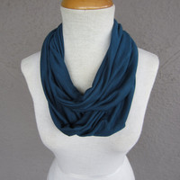 Dark Teal Infinity Scarf - Jersey Circle Scarf - Dark Teal Cowl