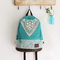 Fashion Green Backpack with Crochet