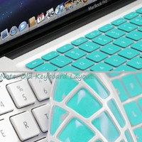GMYLE® Turquoise Robin Egg Blue Keyboard Cover for Macbook Air Pro 13 15 15 Pro Retina 17 US model OS 10.7 New Layout: Computers & Accessories