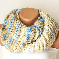 Multicolor Cream Cream, Blue Chunky Cozy Loop Scarf