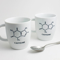 Caffeine Molecule Chemistry Coffee Cup in by LLTownleyCeramic