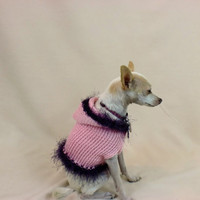 Dog Hoodie Sweater Hood Pink Purple Fur Trim Small Animal Outfit Coat Chihuahua