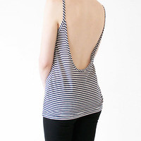 Creatures of Comfort Striped Drop Back Cami- Navy or Grey