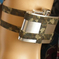 Flask Garter WITH 4oz Flask - Green Camo  - sexy flasks for women